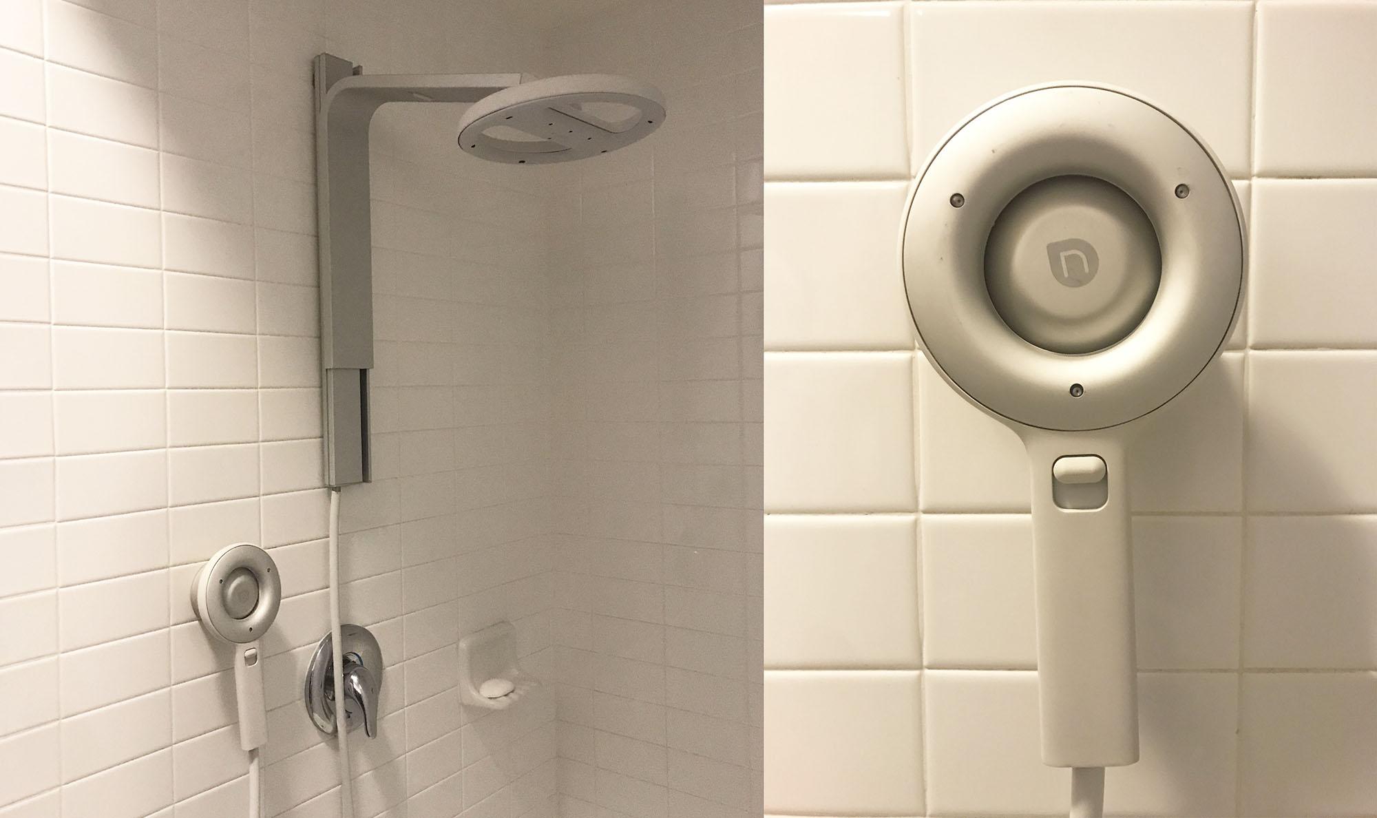 meir overhead mounter round shower en wall with matte black head