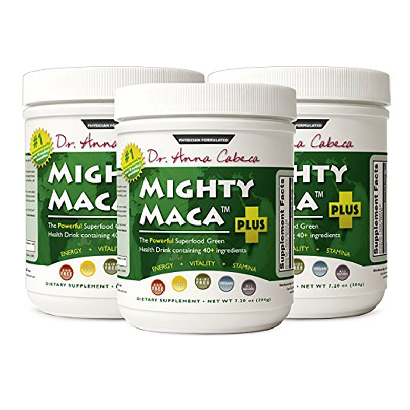 Mighty Maca Plus 3 Pack - Delicious, All-Natural, Organic Maca Superfoods Greens Drink, Allergen & Gluten Free, Vegan, Powder