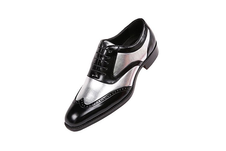 Bolano Men's Two-Tone Metallic Black Smooth Lace up Oxford Dress Shoe, Wingtip Spectator, Style Lawson